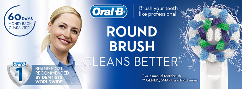 Oral-B - round brush cleans better!