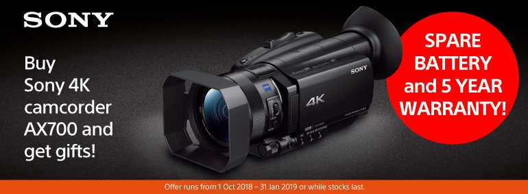 Buy Sony 4K camcorder AX700 and get a gift!