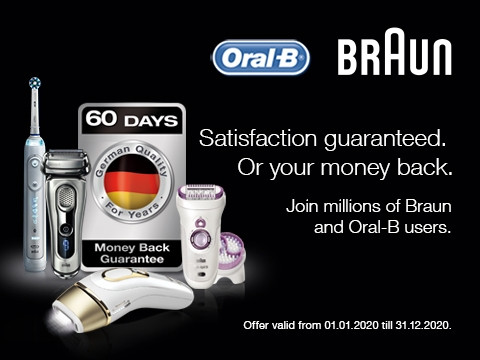 Try one Braun or Oral-B products* and if for any reason it does not meet your expectations, we offer money back guarantee within 60 days from the date of purchase.