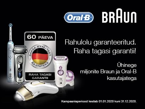 Proovige Braun või Oral-B toodet ja kui see mingil põhjusel teie ootustele ei vasta, saate selle eest kuuekümne päeva jooksul alates ostukuupäevast raha tagasi.